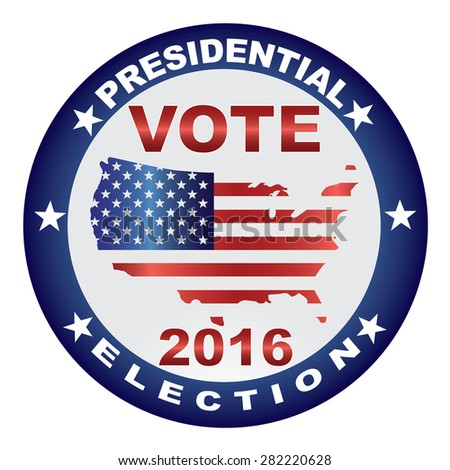 Vote Presidential Election 2016 with USA Flag in Map Silhouette Button Illustration - stock photo