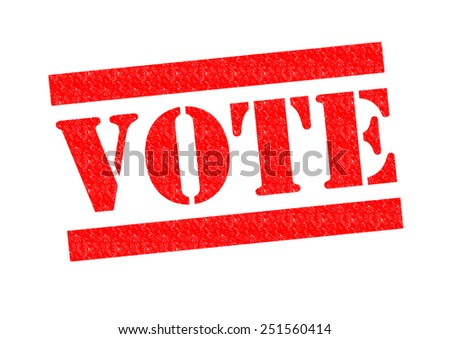 VOTE red Rubber Stamp over a white background. - stock photo