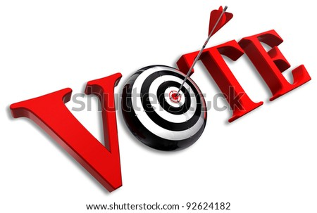 vote red word and conceptual target with arrow on white background