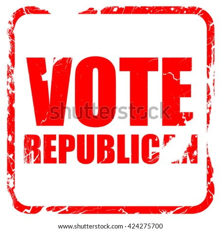 vote republican, red rubber stamp with grunge edges - stock photo