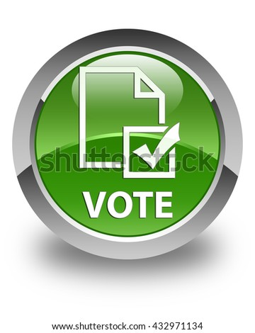 Vote (survey icon) glossy soft green round button - stock photo