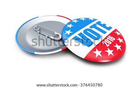 vote USA 2016 badge 3d Illustrations on a white background - stock photo