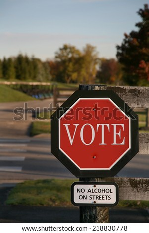 Vote using a stop sign - stock photo