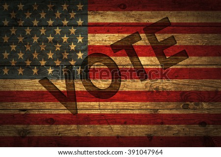 Vote with American flag with added text. - stock photo
