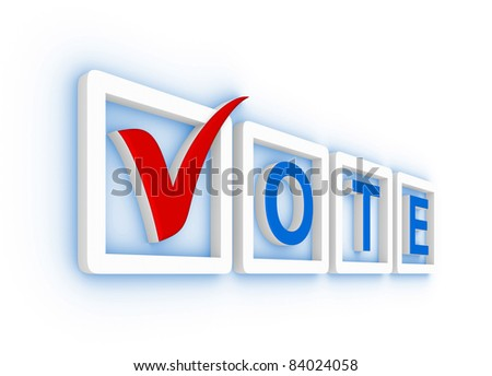 Vote with check mark and check boxes - stock photo
