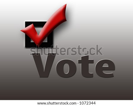 Vote with Red Check in Box on Gray Background