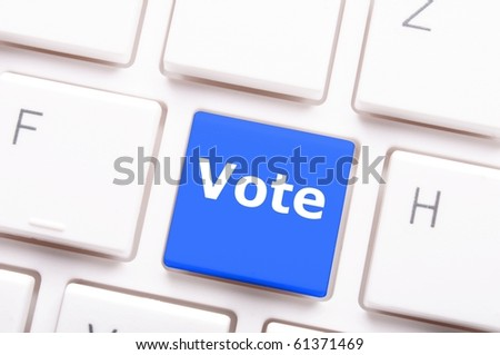vote word on key or keyboard showing election concept - stock photo