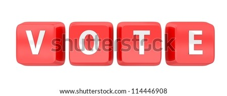 VOTE written in white on red computer keys. 3d illustration. Isolated background.