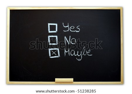 vote yes or no written on chalkboard or blackboard