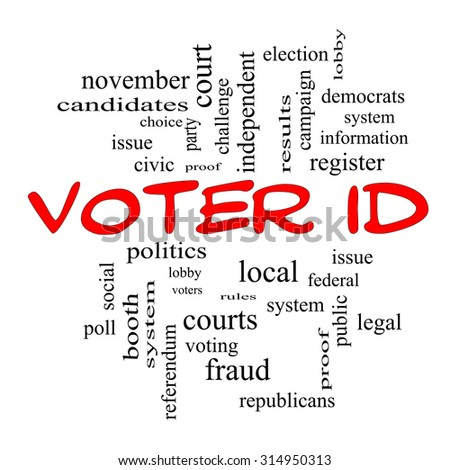 Voter ID Word Cloud Concept in red caps with great terms such as court, issue, politics and more.