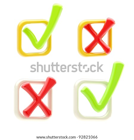 Voting and check-in: set of check boxes isolated on white