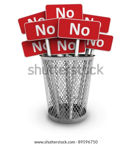 Voting and protest concept: Set of red No signs in metal office bin isolated on white background - stock photo