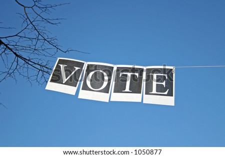 Voting banner with blue sky