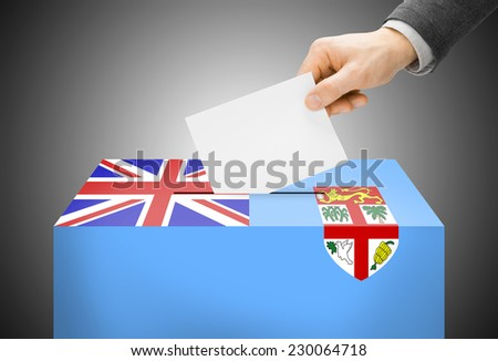 Voting concept - Ballot box painted into national flag colors - Fiji - stock photo