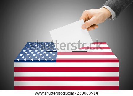 Voting concept - Ballot box painted into national flag colors - United States - stock photo
