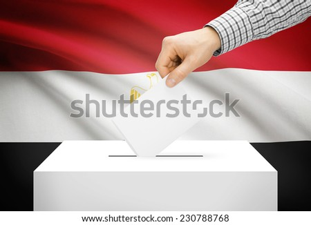 Voting concept - Ballot box with national flag on background - Egypt - stock photo