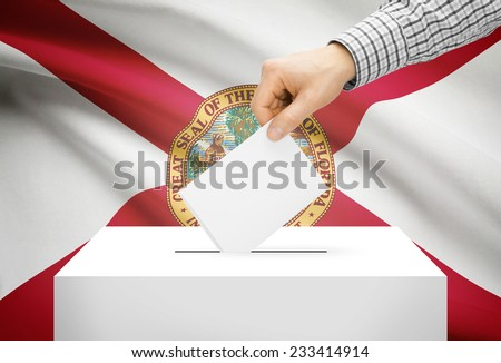 Voting concept - Ballot box with national flag on background - Florida - stock photo