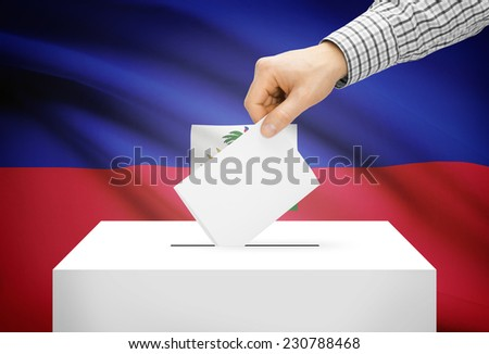 Voting concept - Ballot box with national flag on background - Haiti