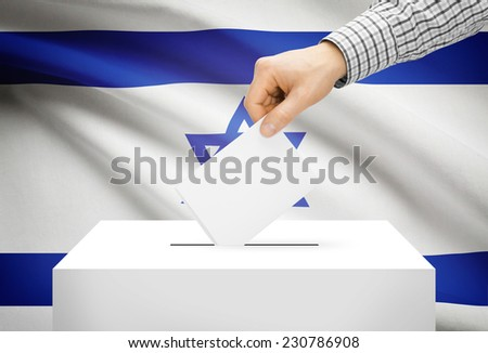 Voting concept - Ballot box with national flag on background - Israel - stock photo