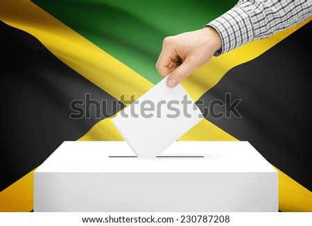 Voting concept - Ballot box with national flag on background - Jamaica - stock photo
