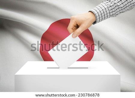 Voting concept - Ballot box with national flag on background - Japan - stock photo