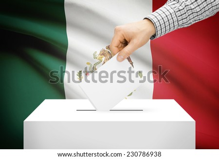 Voting concept - Ballot box with national flag on background - Mexico - stock photo