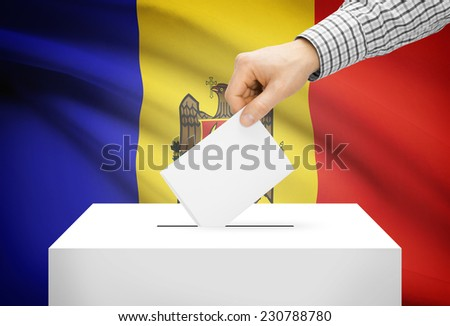 Voting concept - Ballot box with national flag on background - Moldova - stock photo