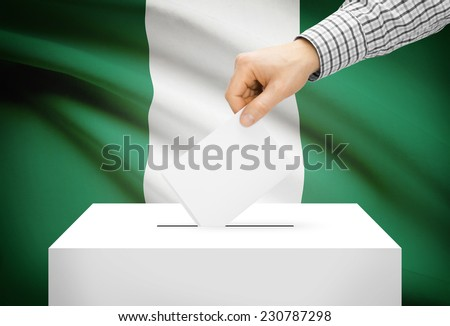Voting concept - Ballot box with national flag on background - Nigeria - stock photo