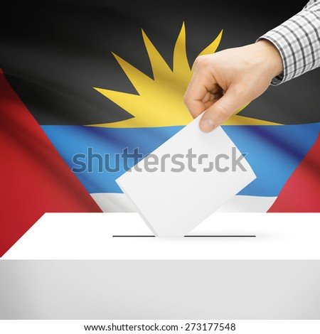 Voting concept - Ballot box with national flag on background series - Antigua and Barbuda - stock photo