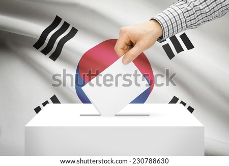 Voting concept - Ballot box with national flag on background - South Korea - stock photo