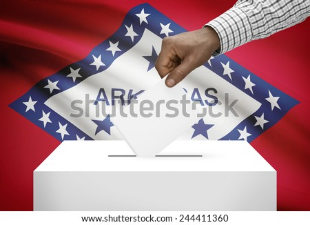 Voting concept - Ballot box with US state flag on background - Arkansas - stock photo