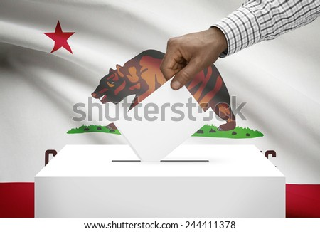 Voting concept - Ballot box with US state flag on background - California - stock photo