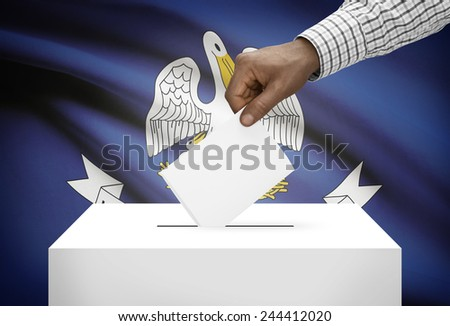 Voting concept - Ballot box with US state flag on background - Louisiana - stock photo