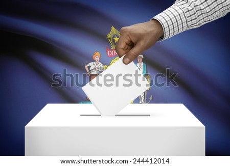 Voting concept - Ballot box with US state flag on background - Maine - stock photo