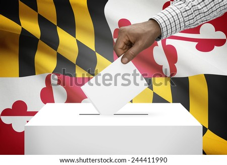 Voting concept - Ballot box with US state flag on background - Maryland - stock photo