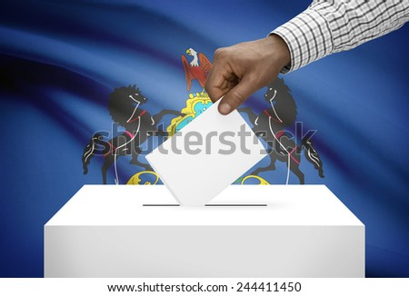 Voting concept - Ballot box with US state flag on background - Pennsylvania - stock photo