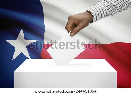 Voting concept - Ballot box with US state flag on background - Texas - stock photo