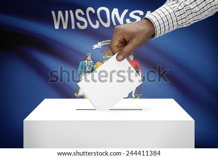 Voting concept - Ballot box with US state flag on background - Wisconsin - stock photo