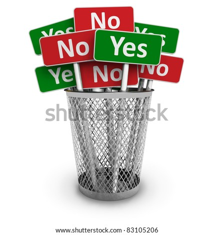 Voting concept: group of Yes and No signs in metal office bin isolated on white background - stock photo