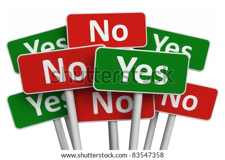 Voting concept: group of Yes and No signs isolated on white background - stock photo