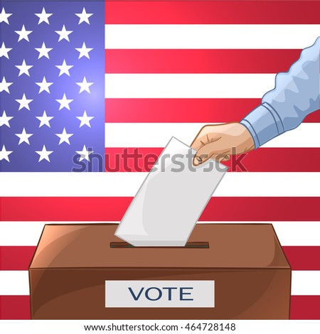 Voting concept in cartoon style - hand putting paper in the ballot box. Be responsible! USA election day. Illustration