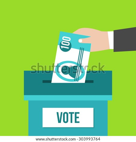 Voting concept in flat design. Hand putting paper money in the ballot box. â??orruption - stock photo