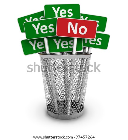 Voting concept: No sign among group of Yes signs in metal office bin isolated on white background - stock photo