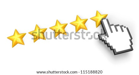 Voting concept. Rating five stars. Hand cursor. Isolated on white. - stock photo