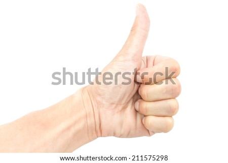 voting hand on white background