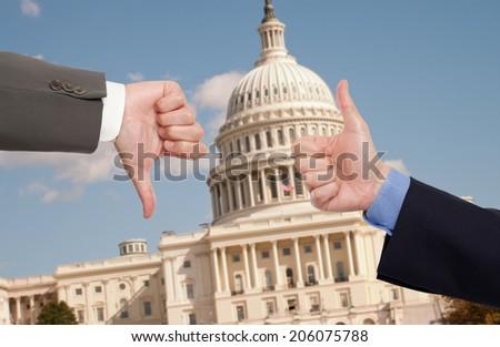 Voting hands in Washington D.C. - stock photo