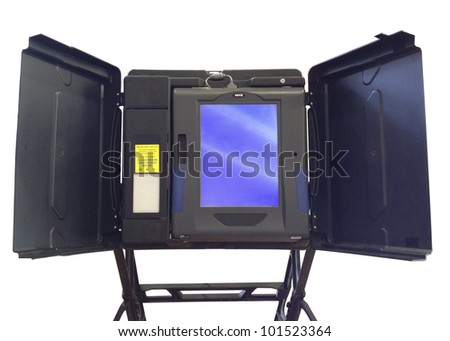 Voting Machine isolated on white - stock photo