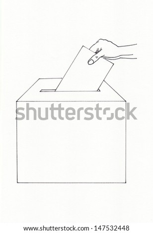 Voting with hand and ballot box - stock photo