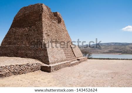 Votiva pyramid, Archaeological site of La Quemada (Mexico) - stock photo