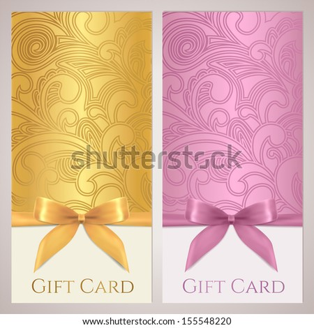 Voucher, Gift certificate, Coupon, Gift card / tag template with gift bow (ribbon, present), filigree pattern. Gold holiday (celebration) background design (Christmas tracery, Birthday) for invitation - stock photo